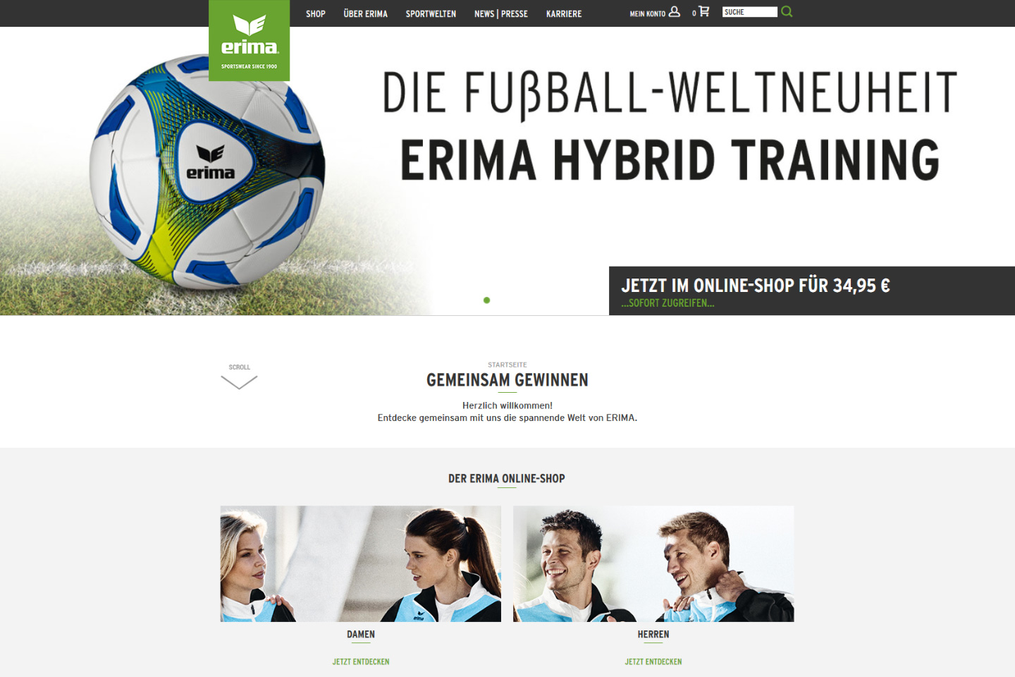 Erima - Online-Shop und Website Detail 01